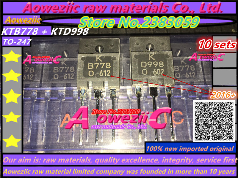 Aoweziic 100% new imported original KTB778 KTD998 TO-3PF audio power amplifier B778 D998 power transistor 2SB778 2SD998 цена