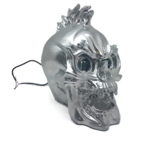 Image 3 - Zilver Led Skull Head Light Koplamp Lamp Cruiser Chopper Bobber Touring Custom Motorfiets