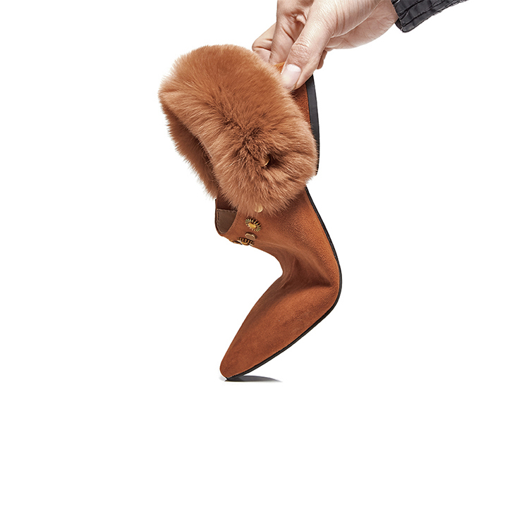 MLJUESE 2018 women flats rabbit hair brown color slip on rivet fur pointed toe spring comfortable casual shoes warm flats odetina 2017 new women pointed metal toe loafers women ballerina flats black ladies slip on flats plus size spring casual shoes