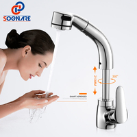 SOGNARE Pull Out Basin Faucets Wash Face And Head Chrome Flexible Single Handle Pull Down Kitchen