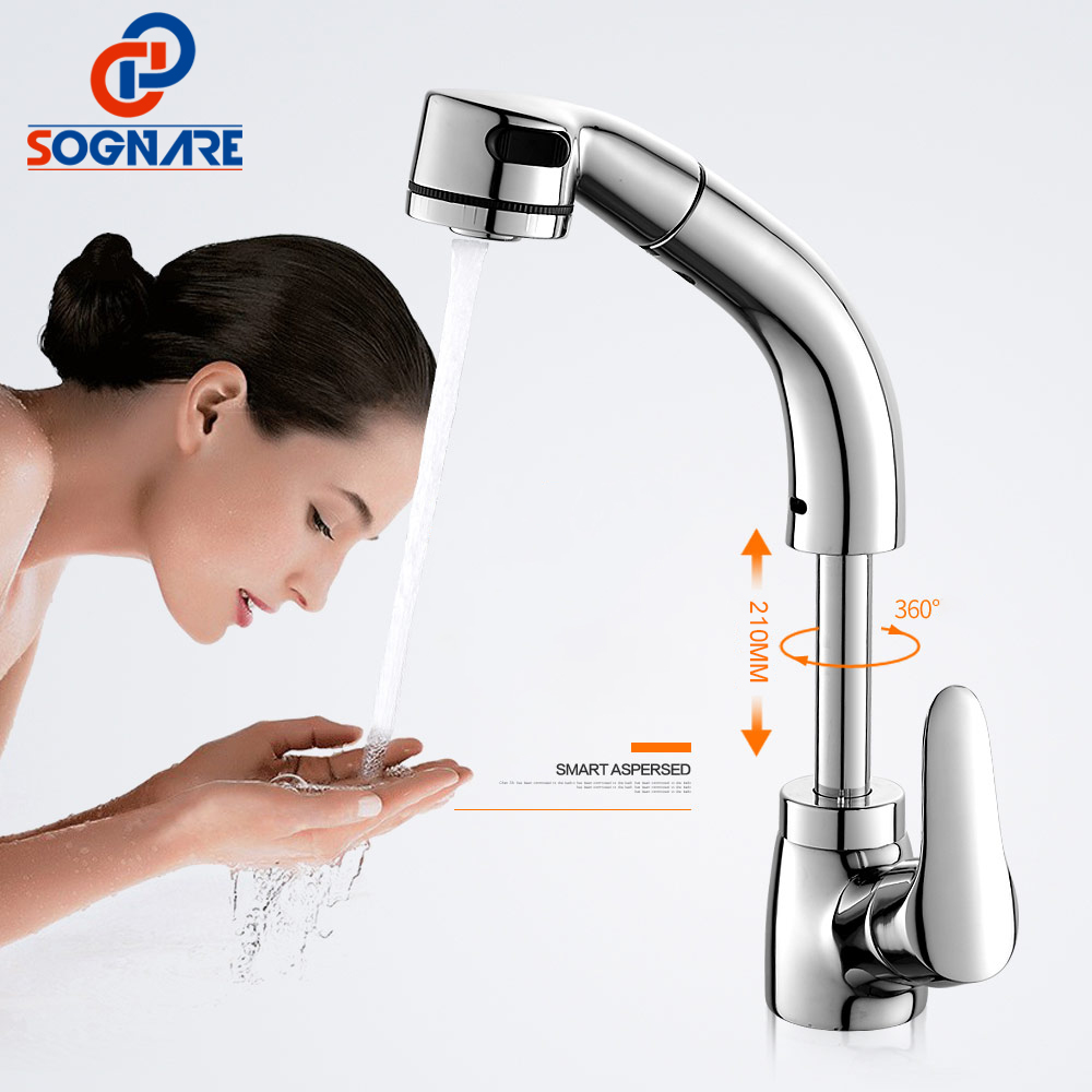 SOGNARE Pull Out Basin Faucets Wash Face and Head Chrome Flexible Single Handle Pull Down Kitchen Mixer Taps Sink Faucet D2321C new flexible chrome brass pull out kitchen faucet swivel spout sink tap 97168d056 2 single handle basin sink faucets mixer taps