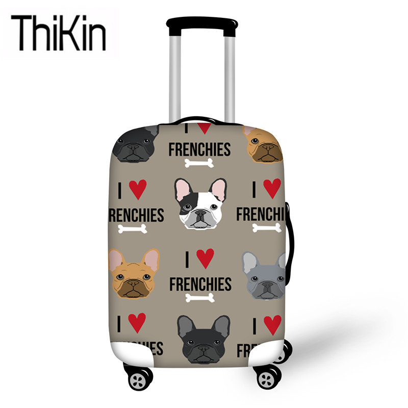 THIKIN Travel Luggage Covers For Suitcase French Bulldog Printing Elastic Travel Accessories For 18-30 Inch Trolley Case Protect