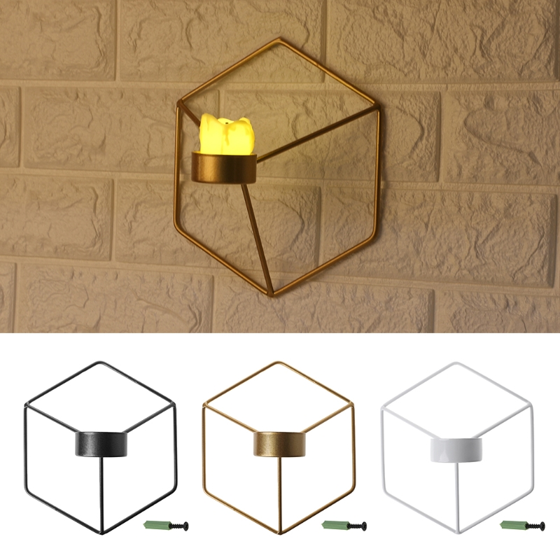 Nordic Style 3D Geometric Candlestick Metal Wall Candle ... on Decorative Wall Sconces Candle Holders Centerpieces Ebay id=11625