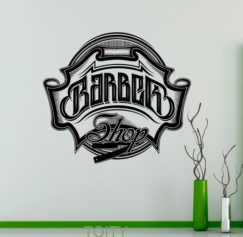 Barbershop Emblem Vinyl Decal Logo Hairdressing Salon Wall