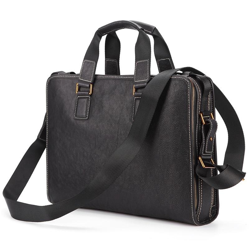New Men's Briefcase Laptop Bag Shoulder Bag Men's Crossbody Bag Top Layer Leather Bag