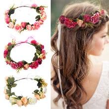 50606fb66 Women Bezel Flowers Crown Bridal Floral Headband Wreath Headband Wedding  Romantic Rose Peony Hair Accessories Bridesmaid