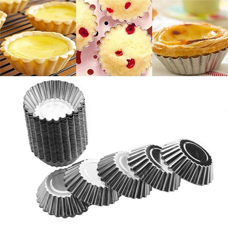 50pcs/set Egg Tart Aluminum Cupcake Cake Cookie Mold Tin Baking Tool Baking Cups Mold Cookie Pudding Mould Baking Tools