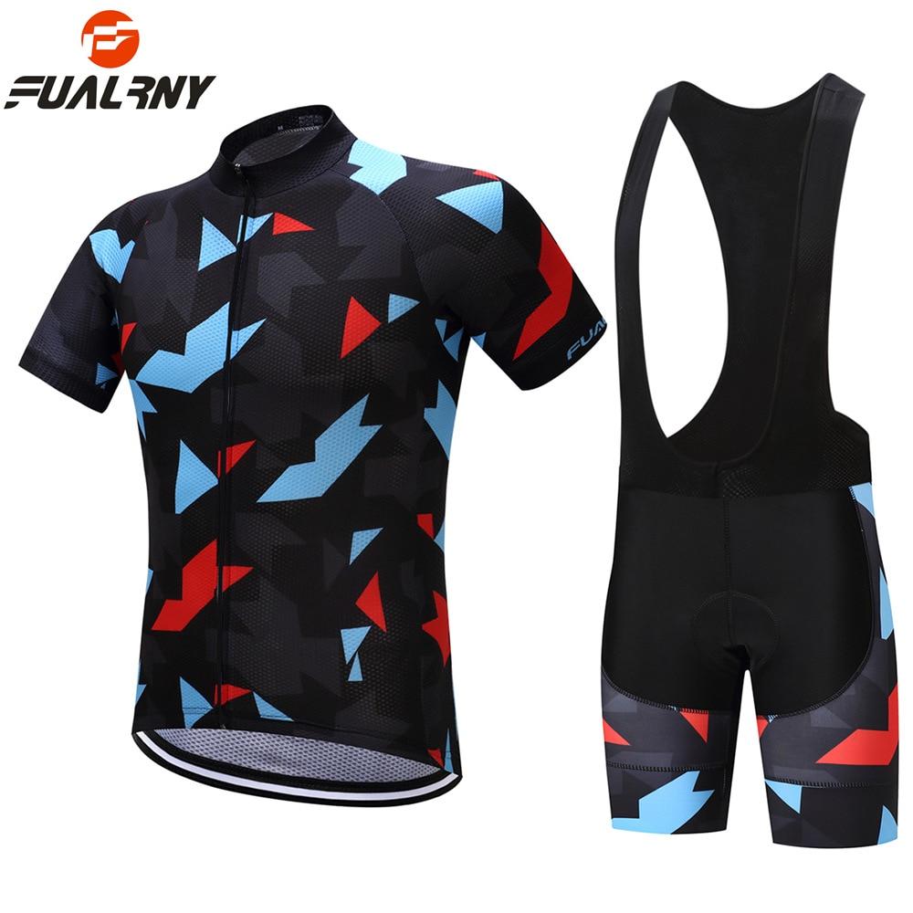 FUALRNY 2018 New Pro Team Summer Mens Cycling Jersey Set Short Sleeve Mountain Bicycle MTB Jerseys Bib Shorts Clothing Sets