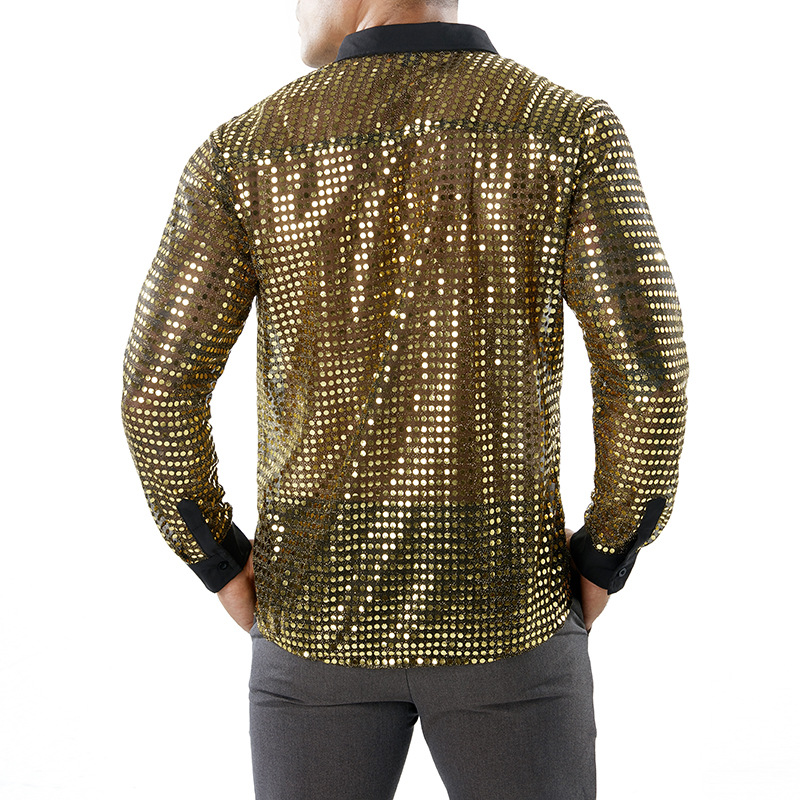 Image 3 - 光沢のあるスパンコール透明シャツ男性 2018 新セクシーシュミーズオムナイトクラブステージウェディングダンスシャツ男性カミーサソーシャルカジュアル シャツ   -