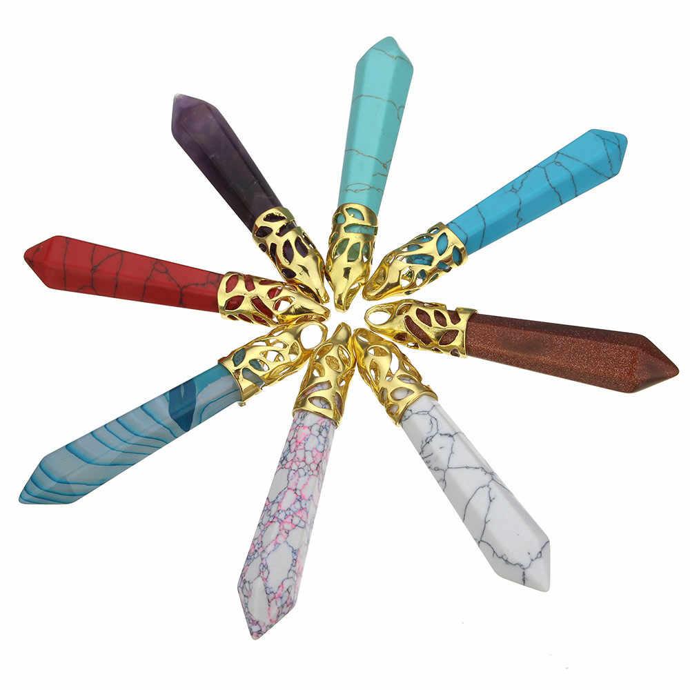 人気の弾丸形状ナチュラル宝石石のペンダント水晶ネックレスペンダントチャーム用男性女性