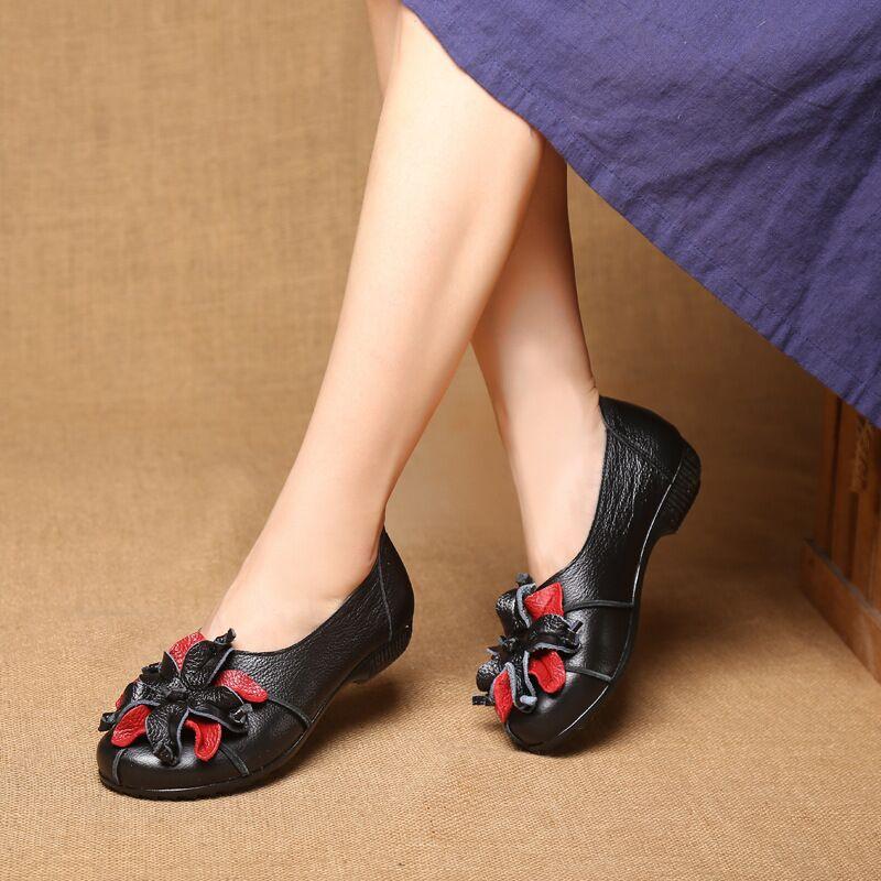 rouge Véritable Rond Appartements Bout Cuir Lacent Pour Chaussures Noir jaune Vache Femmes En 2018 vert Occasionnels Simples Fleur aUWw70dnf