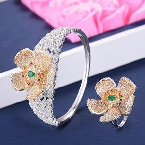 Image 3 - Missvikki Luxe Ontwerp Chic Grote Bloemen Ketting Armband Ring Oorbellen Sieraden Set Merk Sieraden Voor Vrouwen Wedding Prom Party