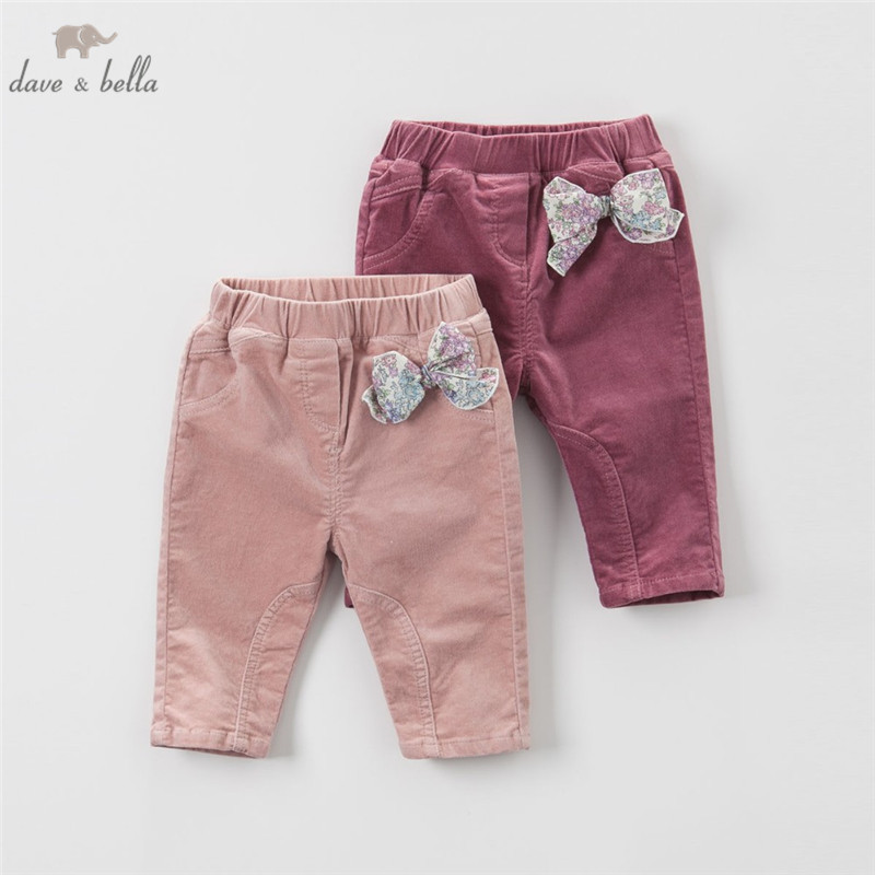 DB3953 Dave Bella New Baby Girls Purple Pink Pants Infant  Bow Pants With Lining