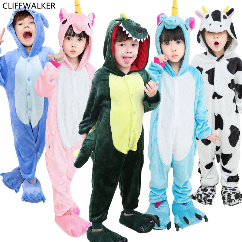 Wholesale Pajamas Rainbow Children Pajamas Unisex Flannel Stitch Kids Pajama Set Cartoon Animal Cosplay For Boys And Girls