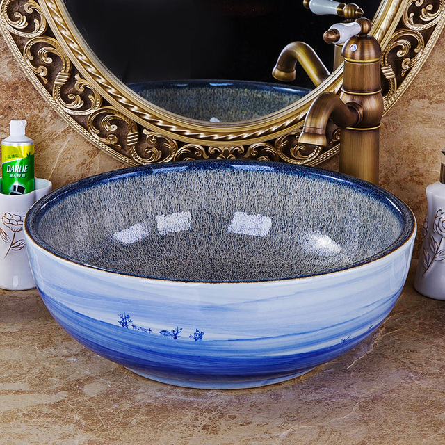 Blue And White Patterned Countertop Round Ceramic Bathroom Sink Art Basin Painted Sinks