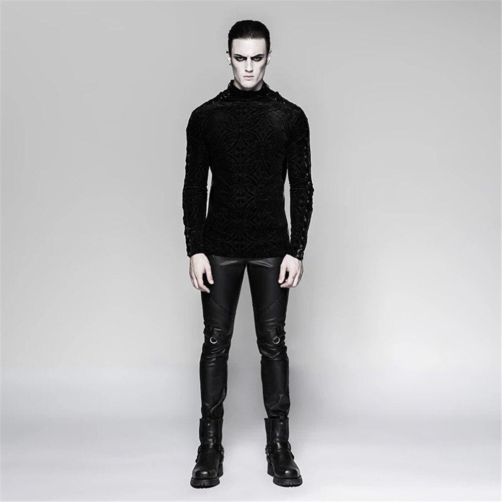 Великолепный готический черный Для мужчин футболка Винтаж плотно, с длинным рукавом плотная футболка стенд воротник Весна футболки - 4