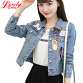 Women Short Denim Jackets 2016 Patch Designs High Quality Casual Ladies Jacket Blue Color Denim Coat Harajuku Chaqueta Mujer