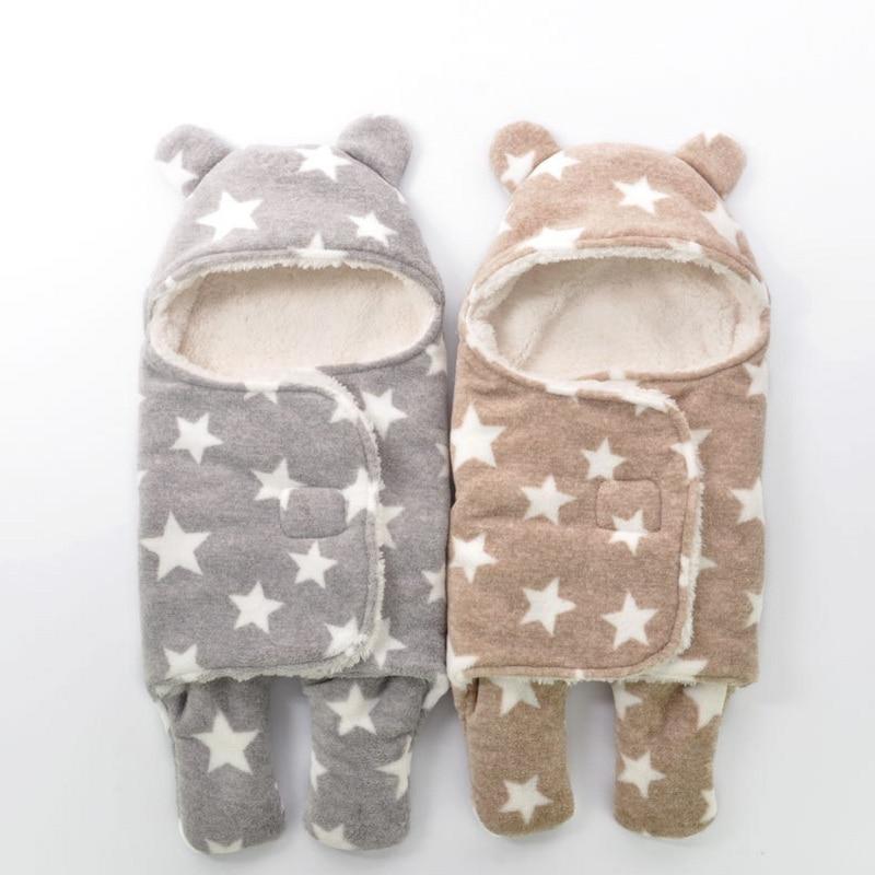 Baby Blanket Envelope Swaddle Winter Wrap Coral Fleece Newborn Blanket Sleeper Infant Stroller Wrap Toddlers Baby Sleeping Bag