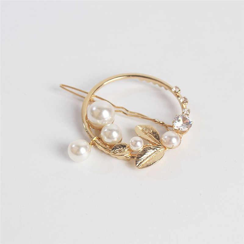 1 para złoty/zielony liść metalowe perły koło księżyc spinki do włosów dla kobiet dziewczyn Alloy okrągły Pearl spinki do włosów akcesoria do włosów
