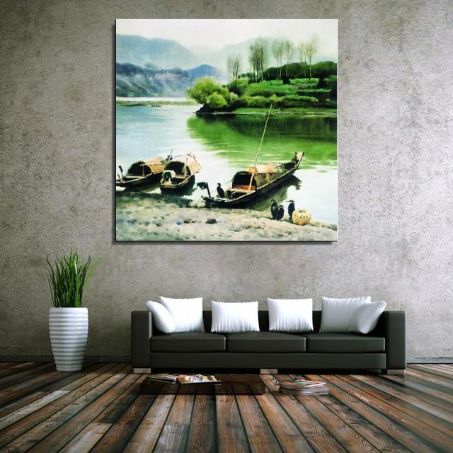Town River Ship Bridge Landscape Traditional Chinese Oil Painting Canvas  Frameless Unframed Spray Miniature Design Technical