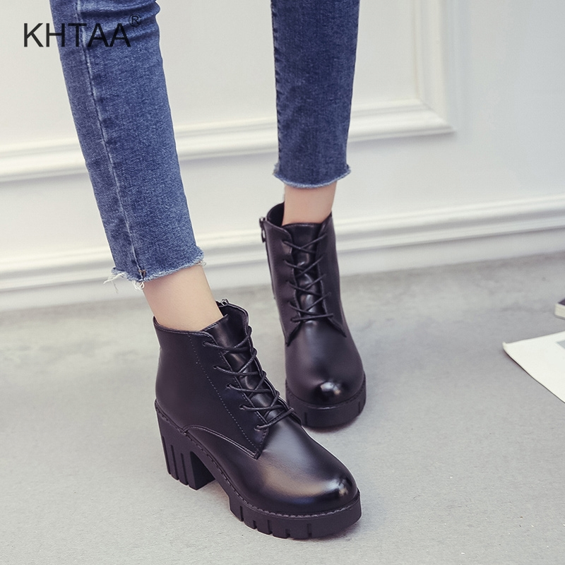 High Heels Autumn Women Ankle Boots Fashion Lace Up Female Short Winter Boots Fashion Zipper Platform Casual Ladies Black Shoes wide calf designer slip on trend short harajuku shoes japanese flat women boots winter 2017 ankle autumn black lace up female