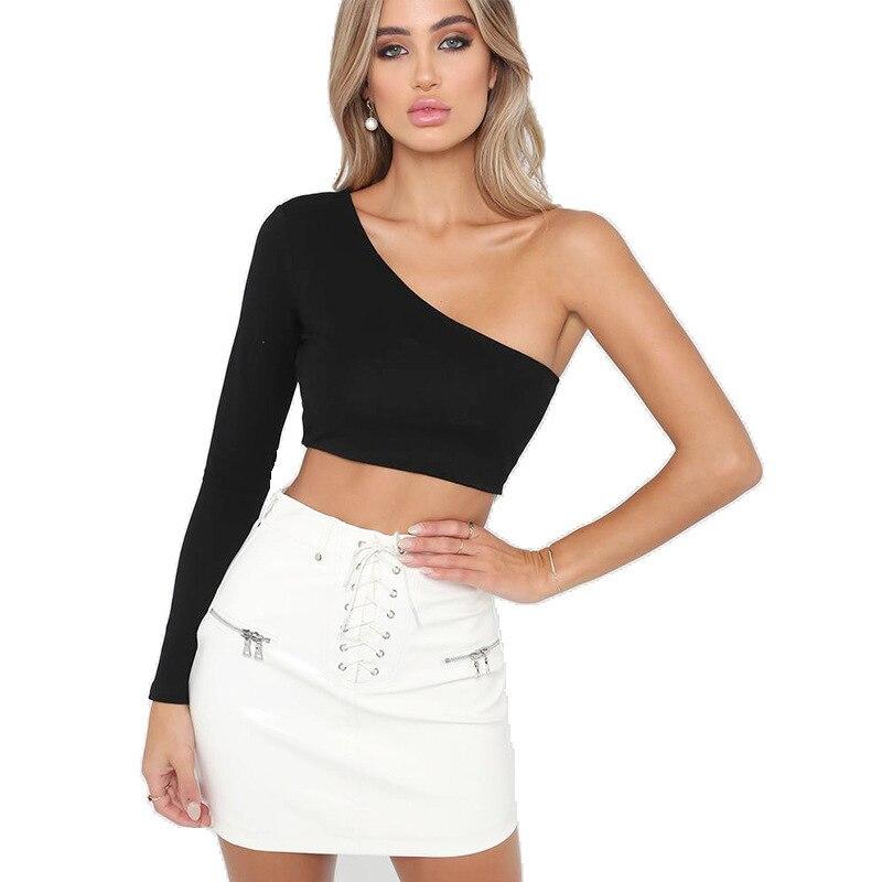 2019 New Fashion One Shoulder Slope Neckline Movement T Shirt Women's Tshirt White Black Crop Top T-shirt Vest Tank Top