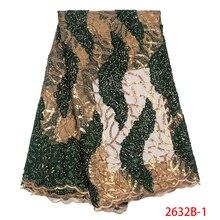 Африканский Современная кружевная ткань Высокое качество французский бархат ткань, тюль, кружева ткани с блестками Камни для вечерние KS2632B-1