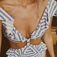 One Piece Swimsuit 2018 Sexy Swimwear Women Striped Ruffled Bandage Push Up Padded Bathing Suit Trikini Beach Bather Monikini