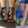 Новая Мода женская обувь женские Ультра сексуальная HighThin Каблуки Лазерные насосы Вырез Бандаж Знатных Вс-Спички высокие каблуки Сандалии