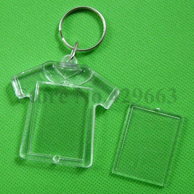 600pcs lot DIY Acrylic Blank Photo Keychains T Shirt Shaped Key Chains Insert Photo Keyrings