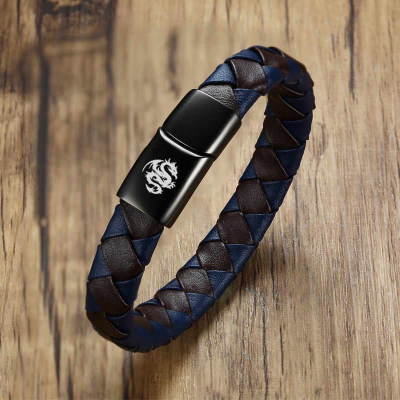 Bracelet en cuir véritable noir hommes gravure gratuite Logo personnalisé Scorpion Dragon loup mâle garçon Bestfriends cadeau