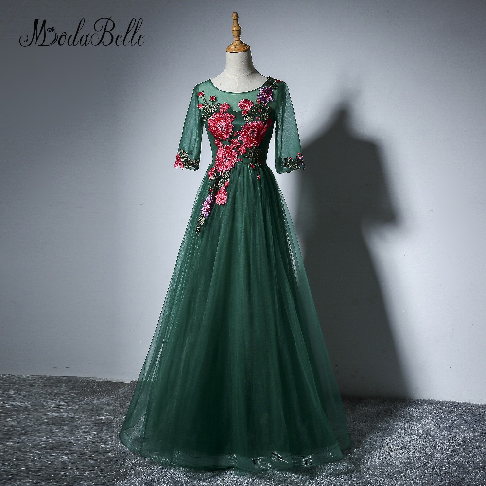 Modabelle Embroidery Long Prom Dress Green Appliques Flowers vestido ...