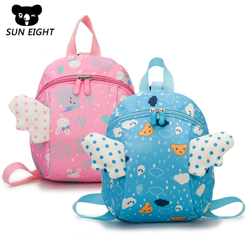 SUN EIGHT High Quality Lovely Children Backpack Cartoon Kindergarten School Bags For 1-4 Years Wing Anti Lost Backpack For Kids