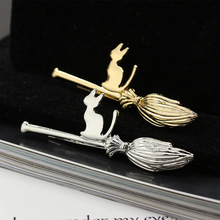 New Cartoon Magic Broom Cat Golden Silver Hair Clips and Pins Barrettes Hairgrips for Girls Women Headwear