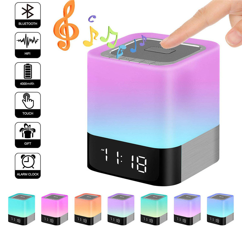 Multi function Wireless Bluetooth Speaker Touch LED Colorful Night Lights Digital Alarm Clock MP3 Player Hands
