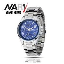 Nary Часы мужчины люксовый бренд Бизнес часы кварцевые часы спортивные мужчины полный стали наручные часы Повседневное часы Relogio Masculino 2016