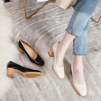 2019 VALLU Fashion Leather Shoes Women Pumps Square Toe Block Heel Female High Heel Shoes Genuine Leather Lady Dress Shoes