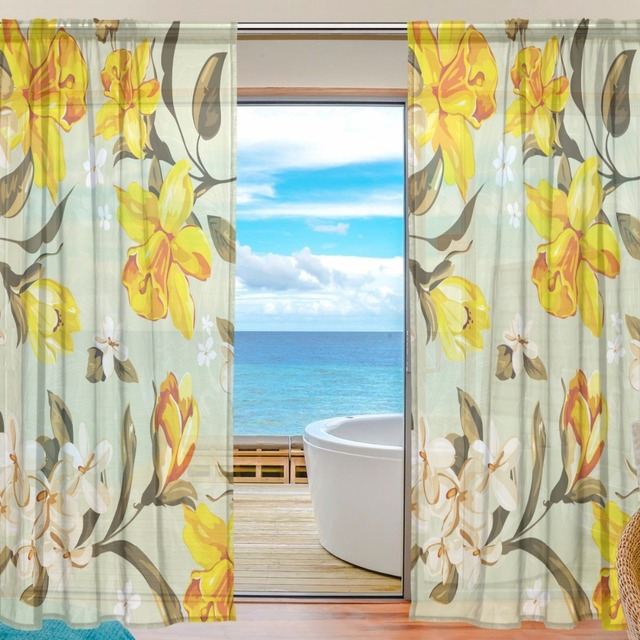 Sheer door curtain panels w55x l78 inch55x l84 inchyellow flower sheer door curtain panels w55x l78 inch55x l84 inchyellow flower polyester fabric mightylinksfo