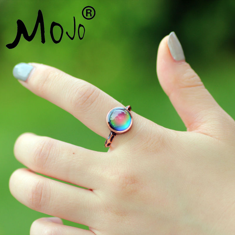 Mojo Vintage Bohemia Retro Color Change Mood Ring Emotion Feeling Ring cambiable Anillo de control de temperatura para mujeres MJ-RC002