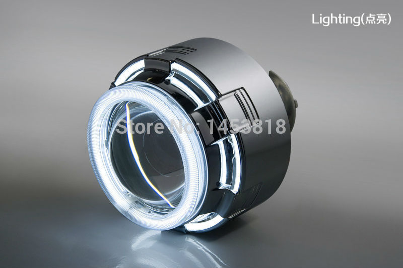 12C 35w H7 H4 H11 9007 H1 9006 9005 2pcs Slim Ballast White Blue Yellow Red Double CCFL Angle Eyes 3inch Bixenon HID Projector