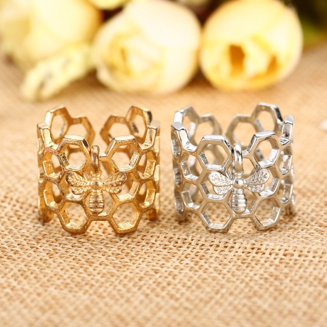 Simple Adjustable Rings Shellhard Honeycomb Honeybee Bee Ring Anillos Femme Fash