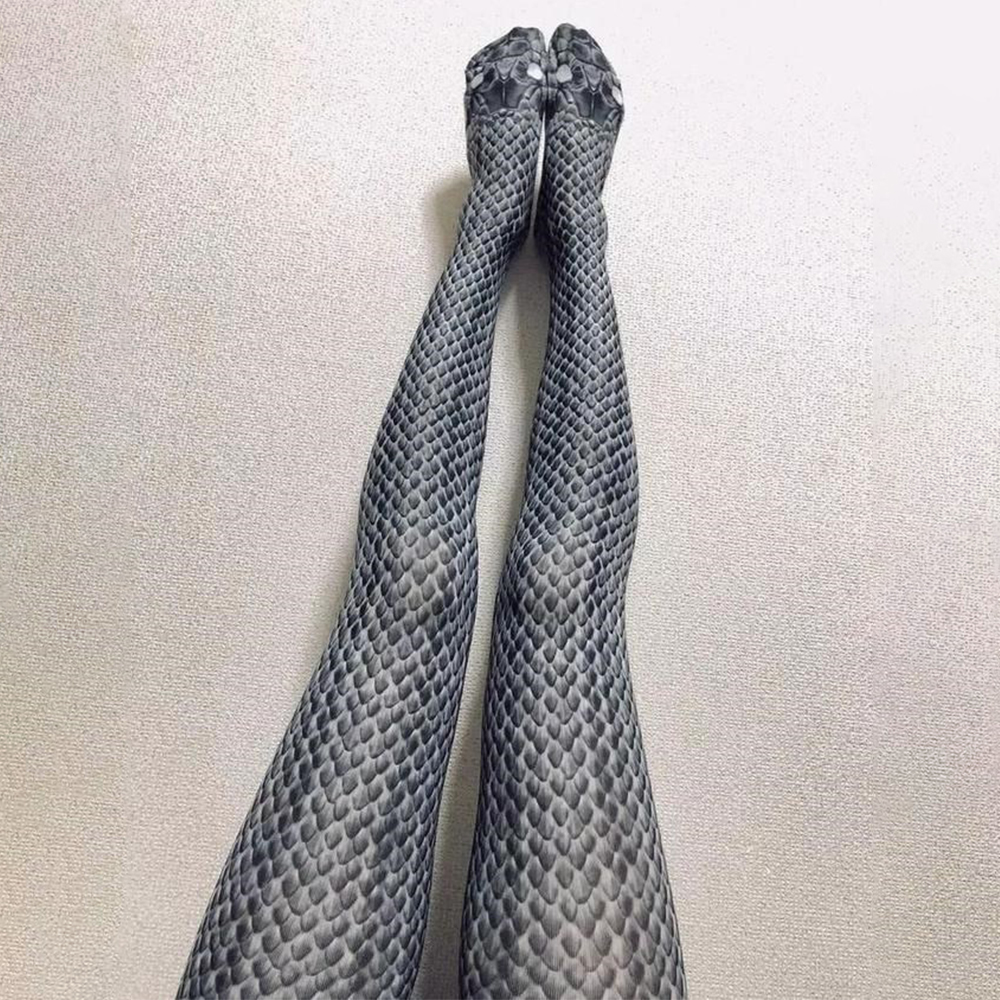 Women Printed Stretch snake Print stockings Funny lady stocking