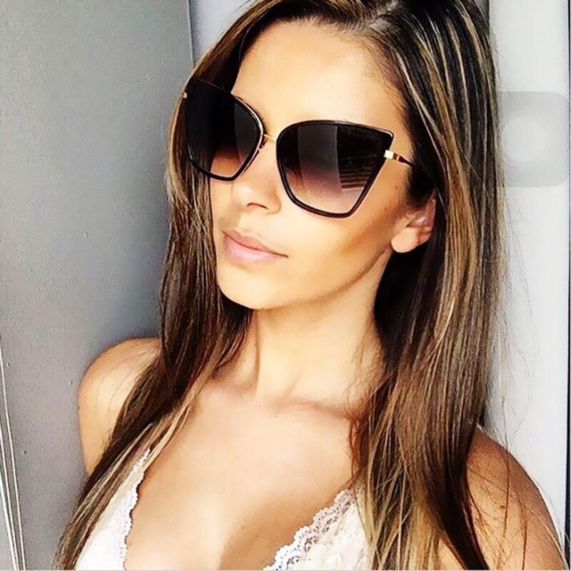 ced89074f6 FANQCE 2017 Newest Arrival Oversized Sunglasses Women Fashion Cat Eye  Sunglass Vintage Brand Designer Champagne Sun Glasses