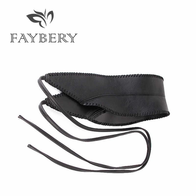 Eleganckie samoprzylepne szerokie pasy dla kobiet miękki PU skórzany kapelusz z kokardką Obi Style Wrap wokół paska czarna długa sukienka paski