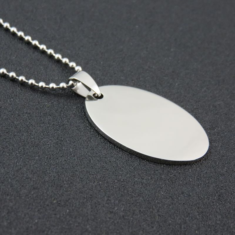 Silver Tone Polished Smooth Stainless Steel elliptical Dogtags Pendant Necklace For Man And Women Fashion Gift