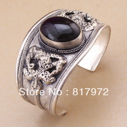 Glamour Lucky Old tibet silver genuine Bling black bead inlay cuff bracelet Adjustable Party Gift