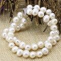 2 filas de nueva moda blanco natural 8-9mm nearround perla beads strand beaded pulseras y brazalete de los encantos de las mujeres joyería 7.5 inch B3178
