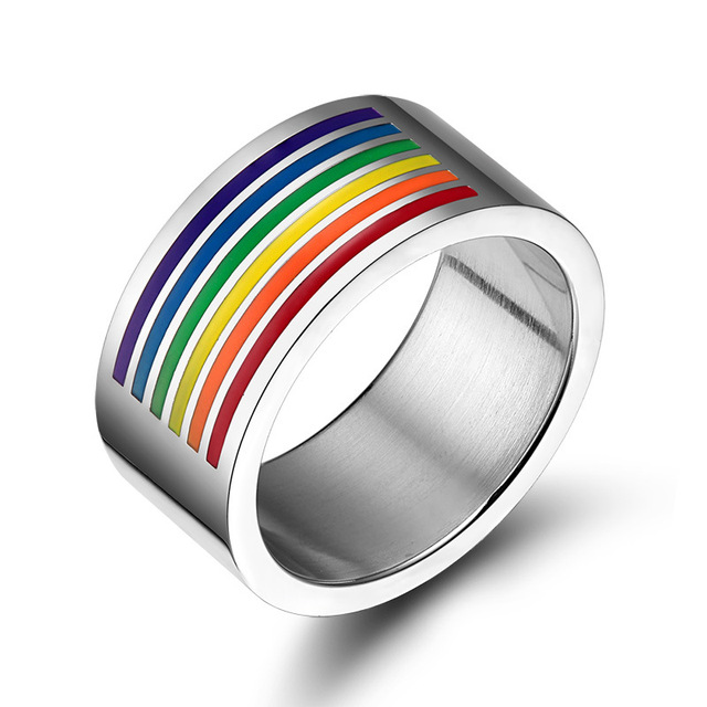 10mm Wide Rainbow Rings for Gay LGBT Lesbian Equality Wedding Bands Titanium Rin