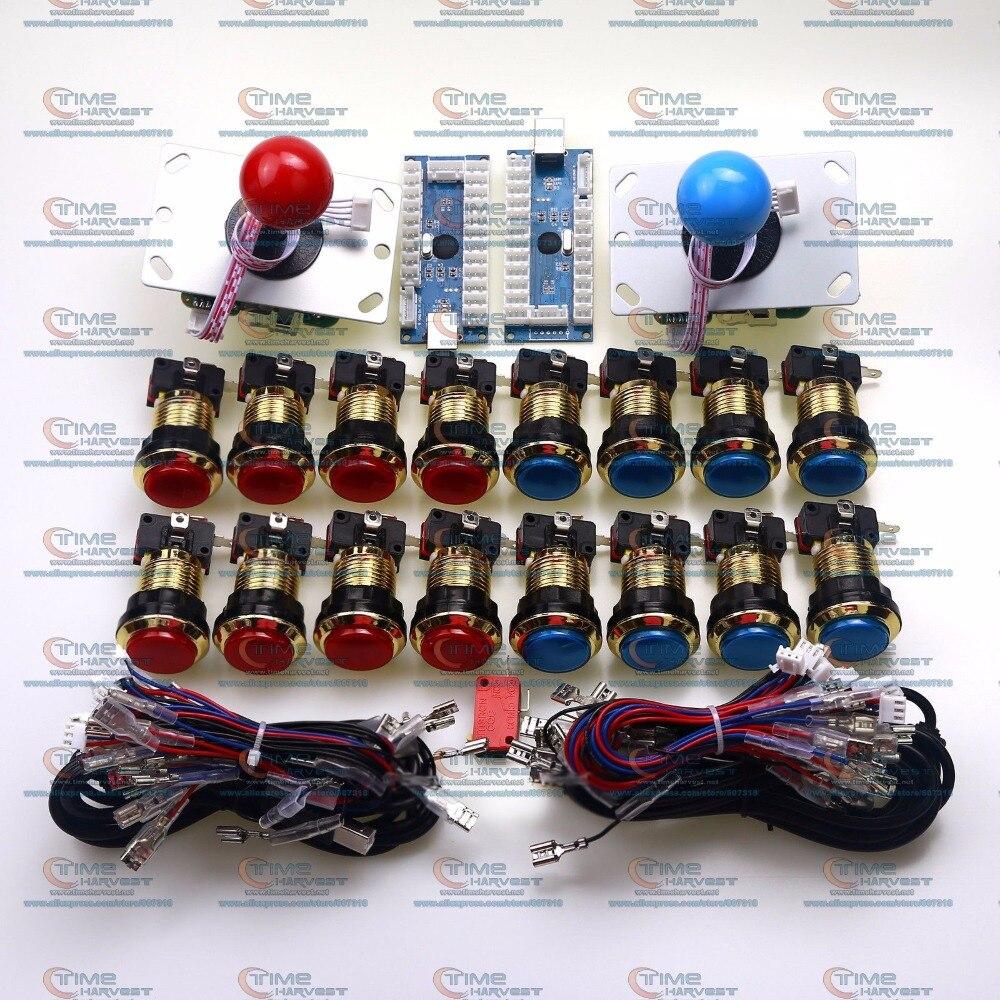 2 Player Arcade Kit with Arcade USB Encoder Board click lighting mode Control Panel MAME Handle Joystick Chrome LED Lamp Button