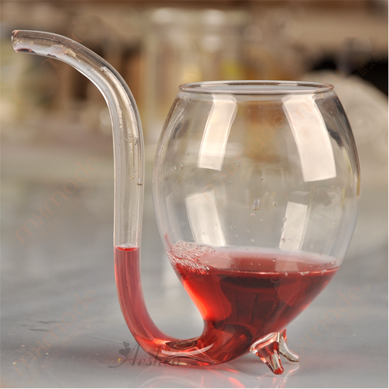 Arshen Special 300ml Red Wine Coffee Milk Mug with Straw Heat Resistant Tea Drink Mug Transparent Drinkware Perfect Craft Gift